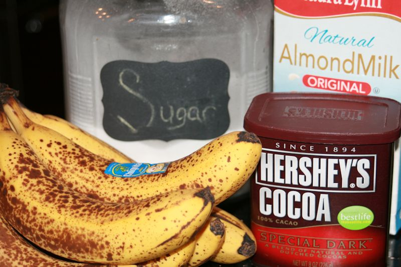 Ingredients for Decadent Dairy-Free Dark Chocolate Banana Milkshake